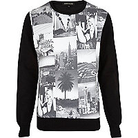Black Hollywood collage print sweatshirt