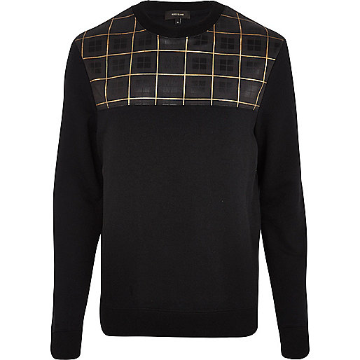 Black tartan print yoke sweatshirt