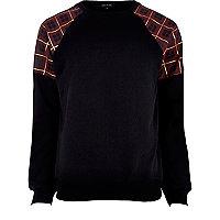Black tartan shoulder sweatshirt