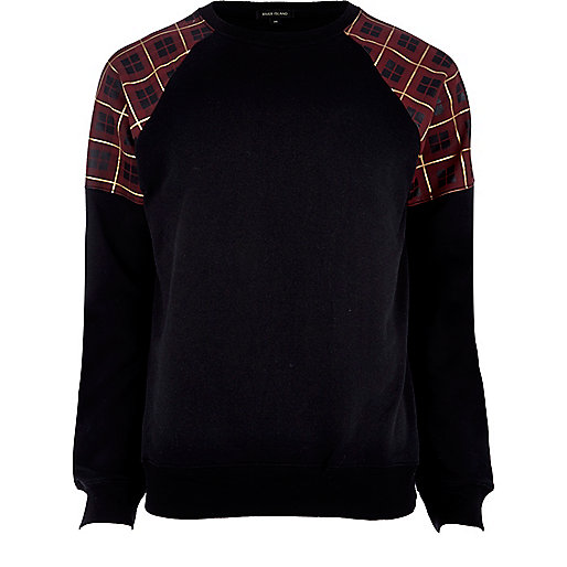 Black tartan shoulder sweatshirt