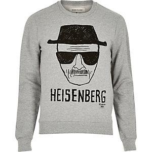 Grey marl Heisenberg print sweatshirt