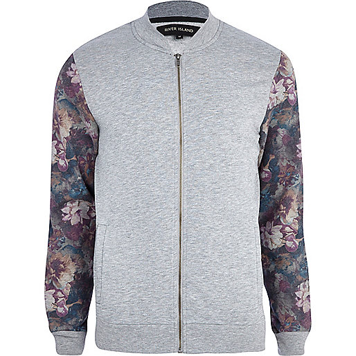 Grey marl floral sleeve bomber jacket