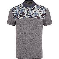 Grey floral yoke polo shirt