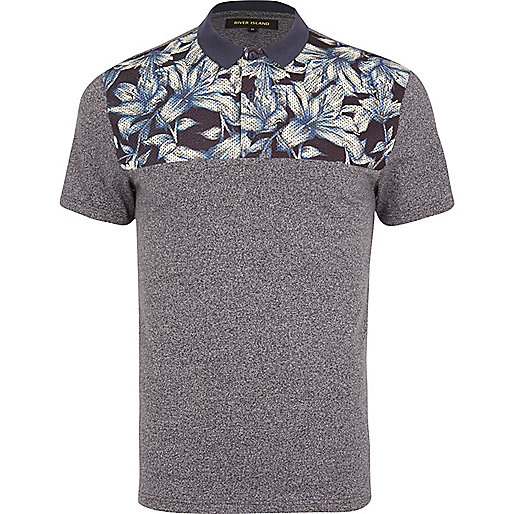 Grey floral yoke polo shirt