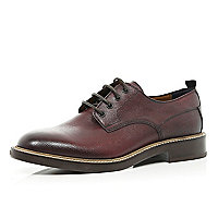 Dark red Holloway Road textured lace up shoes