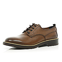 Brown Holloway Road textured lace up shoes
