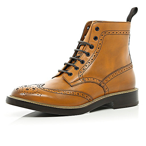 Brown Holloway Road chunky sole brogue boots
