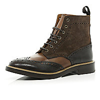 Brown Holloway Road brogue boots