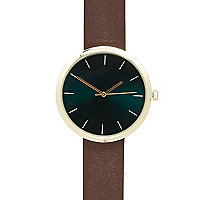 Brown minimal round watch