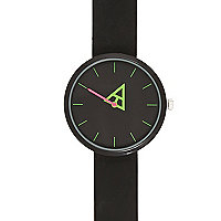Black neon geometric hand watch