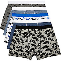 Mixed moustache print boxer shorts pack