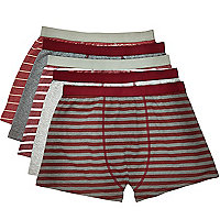 Red mixed stripe boxer shorts pack