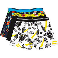 Black robot print boxer shorts pack