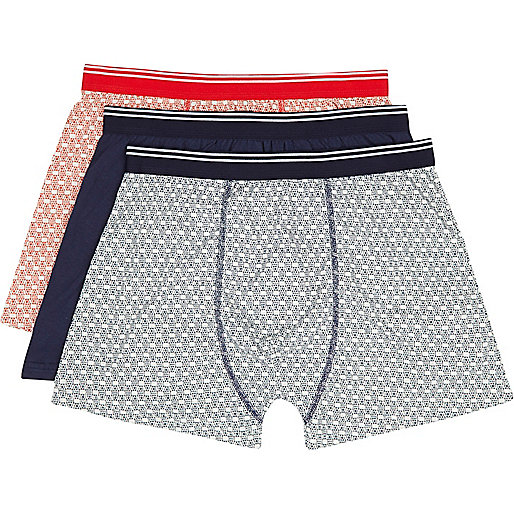 Navy and red tile print boxer shorts pack