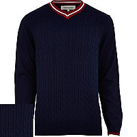Navy cable knit cricket jumper