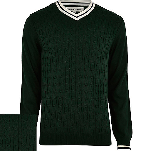 Green cable knit cricket jumper
