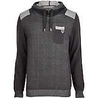 Grey colour block knitted hoodie