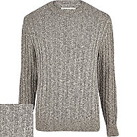 Grey twist cable knit crew neck jumper
