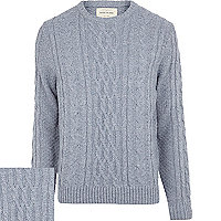 Light blue cable knit jumper