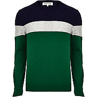 Green colour block stripe jumper