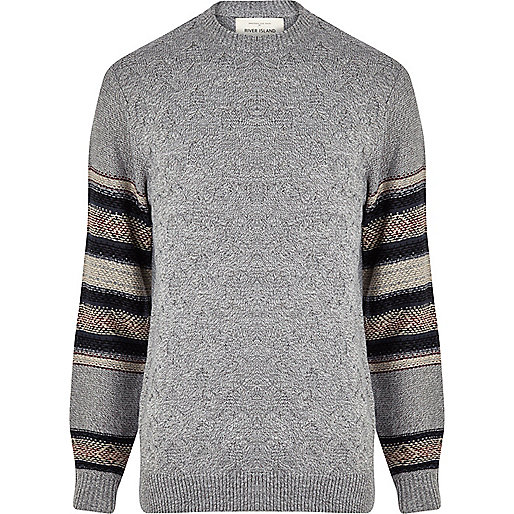 Grey textured knit contrast sleeve jumper