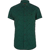Green scale print shirt