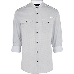 White stripe rolled sleeve shirt