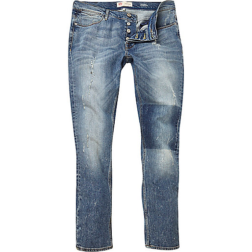 Light wash patch Sid skinny stretch jeans