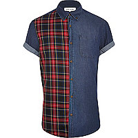 Dark wash denim and tartan shirt