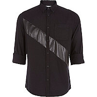 Black PU panel Oxford shirt