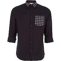 Black checked collar Oxford shirt