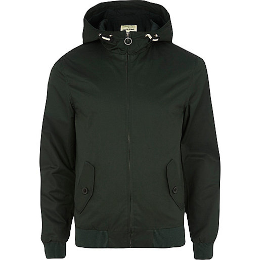 Dark green casual bomber jacket