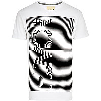 White Humor stripe print t-shirt