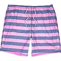 Bright purple stripe mid length swim shorts