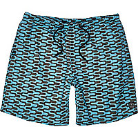 Black geometric print mid length swim shorts