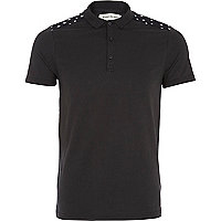 Black star shoulder polo shirt