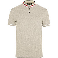 Grey tipped collar polo shirt