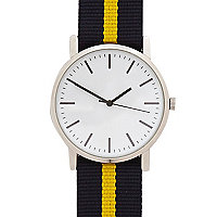 Navy and yellow stripe watch