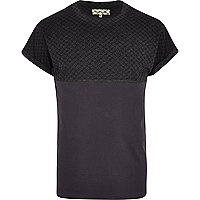 Grey ditsy print yoke spliced t-shirt