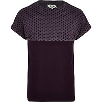 Purple ditsy print yoke spliced t-shirt