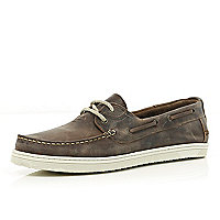 Brown distressed boat shoes