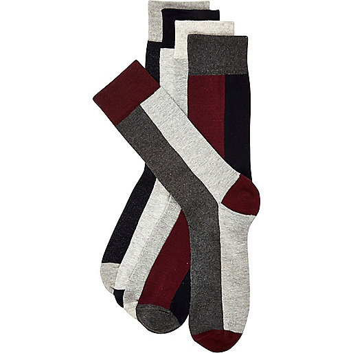 Red colour block socks pack