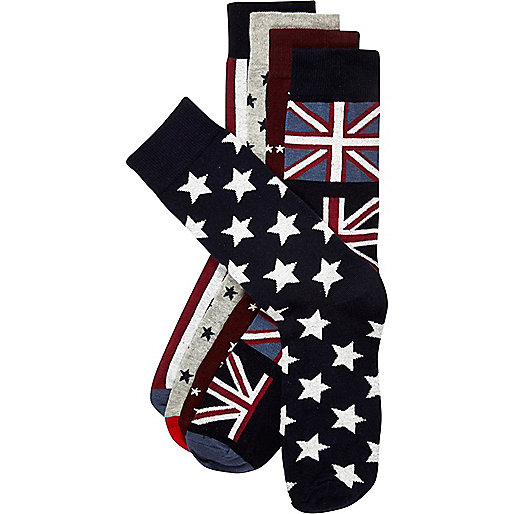 Navy stars and stripes mixed socks pack