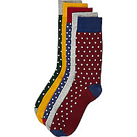 Mixed polka dot ankle socks pack
