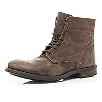 Brown distressed lace up military boots