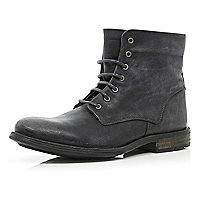 Black distressed lace up military boots