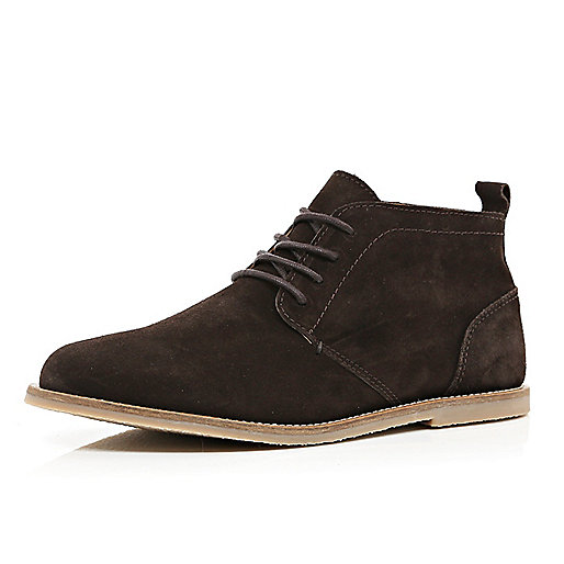 Dark brown suede desert boots