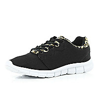 Black leopard print trim trainers