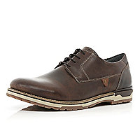 Dark brown leather chunky sole shoes