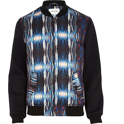 Black abstract print bomber jacket